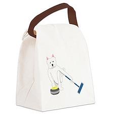 Westie Curling Canvas Lunch Bag