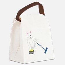 Westie Curling Canvas Lunch Bag