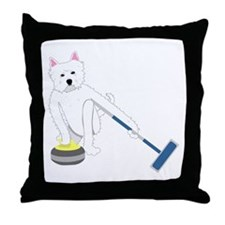 Westie Curling Throw Pillow
