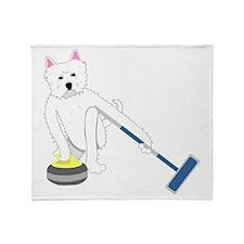 Westie Curling Throw Blanket