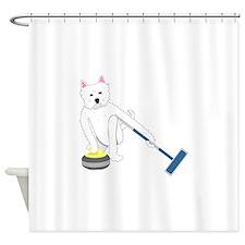 Westie Curling Shower Curtain