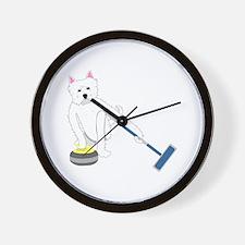 Westie Curling Wall Clock
