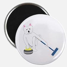Westie Curling Magnet