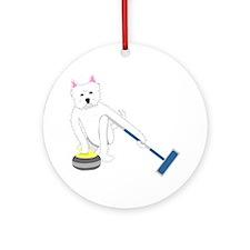 Westie Curling Ornament (Round)