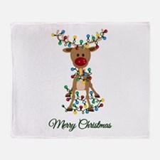 Merry Christmas Reindeer Throw Blanket