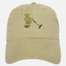 Yellow Lab Curling Baseball Baseball Cap