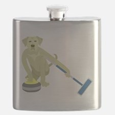 Yellow Lab Curling Flask