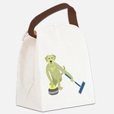 Yellow Lab Curling Canvas Lunch Bag