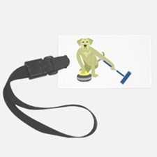 Yellow Lab Curling Luggage Tag