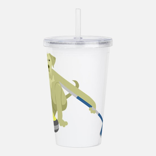 Yellow Lab Curling Acrylic Double-wall Tumbler