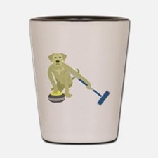 Yellow Lab Curling Shot Glass