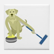 Yellow Lab Curling Tile Coaster