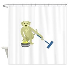 Yellow Lab Curling Shower Curtain