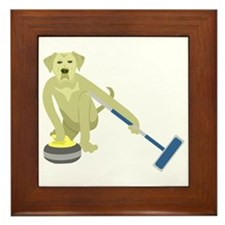 Yellow Lab Curling Framed Tile