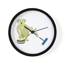 Yellow Lab Curling Wall Clock