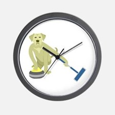 Yellow Lab Curling Wall Clock