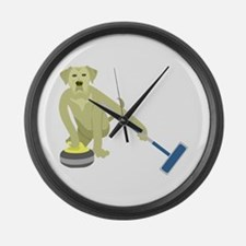 Yellow Lab Curling Large Wall Clock