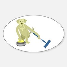 Yellow Lab Curling Sticker (Oval)