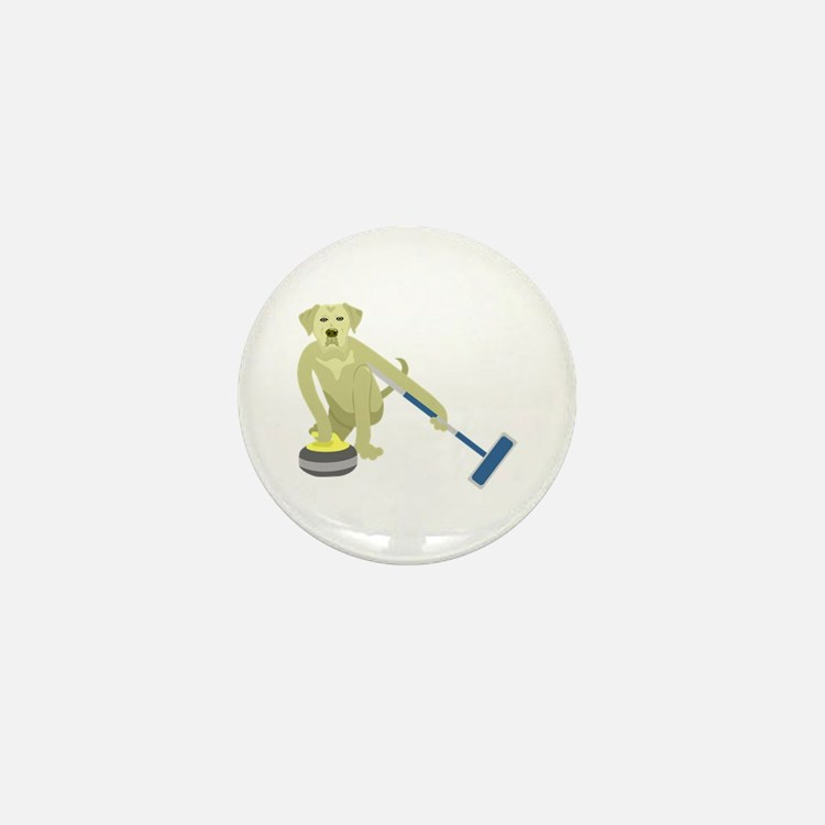Yellow Lab Curling Mini Button