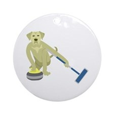 Yellow Lab Curling Ornament (Round)
