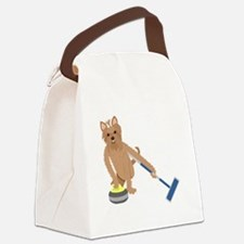 Yorkshire Terrier Curling Canvas Lunch Bag