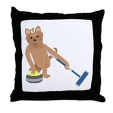 Yorkshire Terrier Curling Throw Pillow