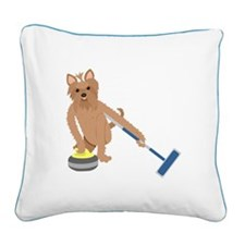 Yorkshire Terrier Curling Square Canvas Pillow