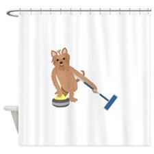 Yorkshire Terrier Curling Shower Curtain