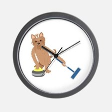 Yorkshire Terrier Curling Wall Clock