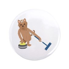 """Yorkshire Terrier Curling 3.5"""" Button"""