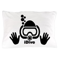 idive wht blk shadow 4dark.png Pillow Case