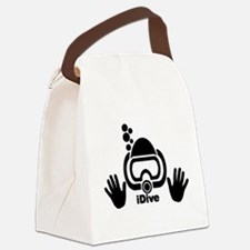 idive wht blk shadow 4dark.png Canvas Lunch Bag