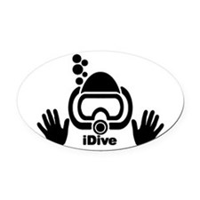 idive wht blk shadow 4dark.png Oval Car Magnet