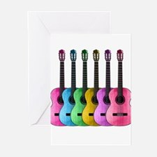 Colorful Guitars Greeting Cards