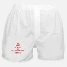 Keep Calm by focusing on Tents Boxer Shorts