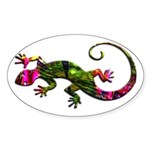 Green Purple Gecko Sticker (Oval)