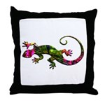 Green Purple Gecko Throw Pillow