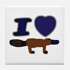I Love ( Heart ) Duck Billed  Tile Coaster