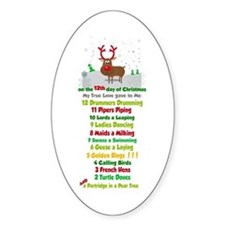 Red Nose Reindeer And Colorful 12 Days Of Decal