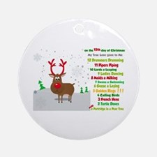 Red Nose Reindeer And Colorful 12 Ornament (round)