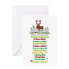 Red Nose Reindeer And Colorful 12 Greeting Cards