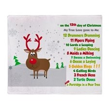 Red Nose Reindeer And Colorful 12 Throw Blanket