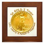 Gold Liberty Gold Motto Framed Tile