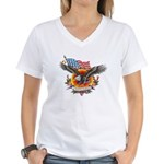 4th of July Screamin' Eagles Women's V-Neck T-Shir