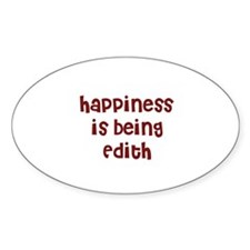 happiness is being Edith Oval Decal