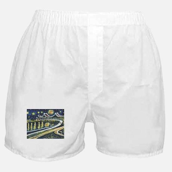 Starry Night Bridge Boxer Shorts