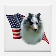 Sheltie(mrl) Flag Tile Coaster
