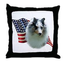 Sheltie(mrl) Flag Throw Pillow