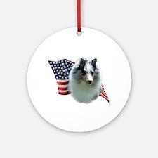 Sheltie(mrl) Flag Ornament (Round)