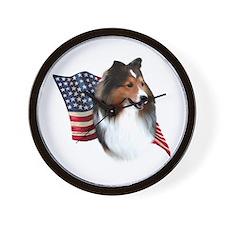 Sheltie(sbl) Flag Wall Clock